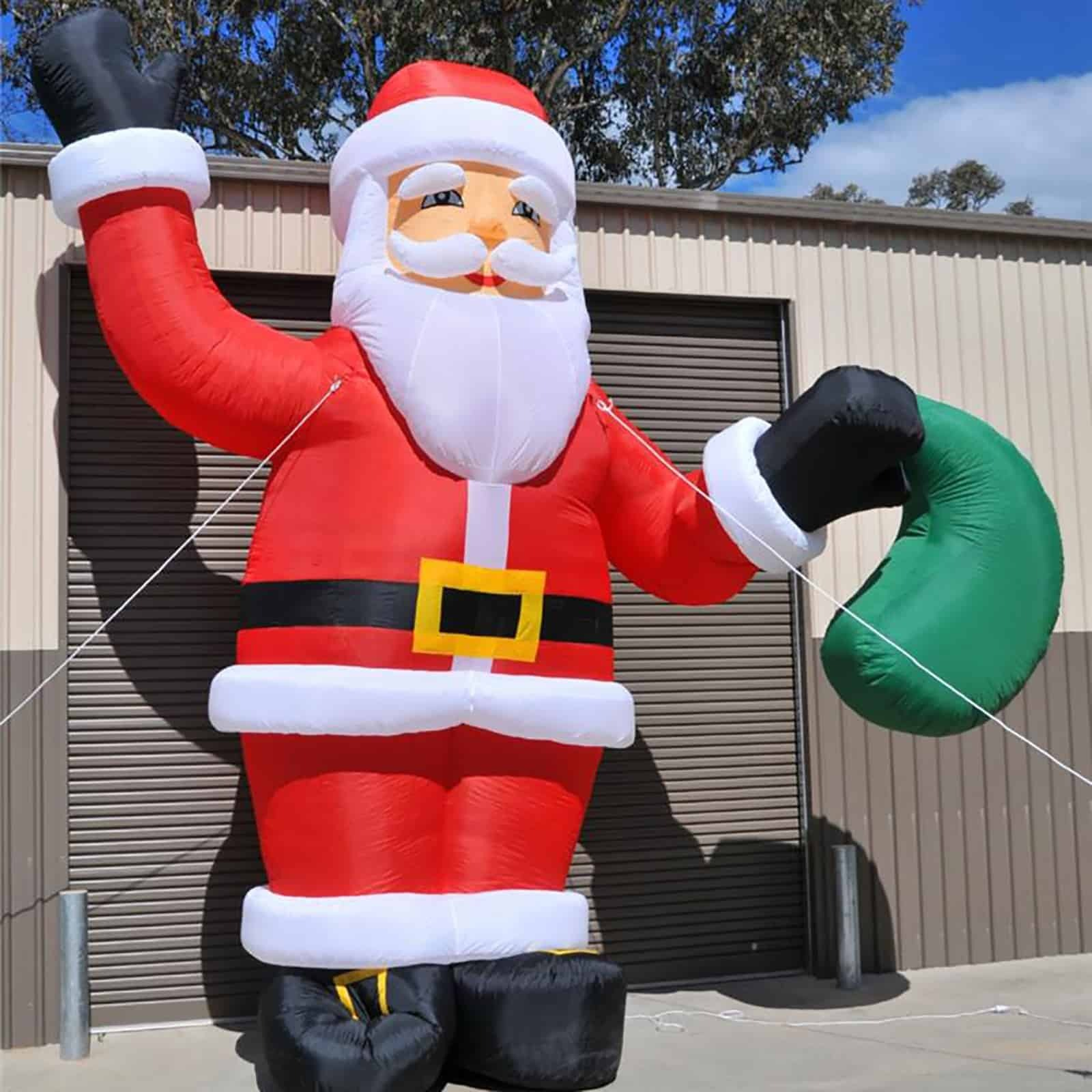 25cm Large Outdoor Commercial Christmas Tree Bauble: 6M Giant Christmas Santa Claus Inflatable Large Outdoor