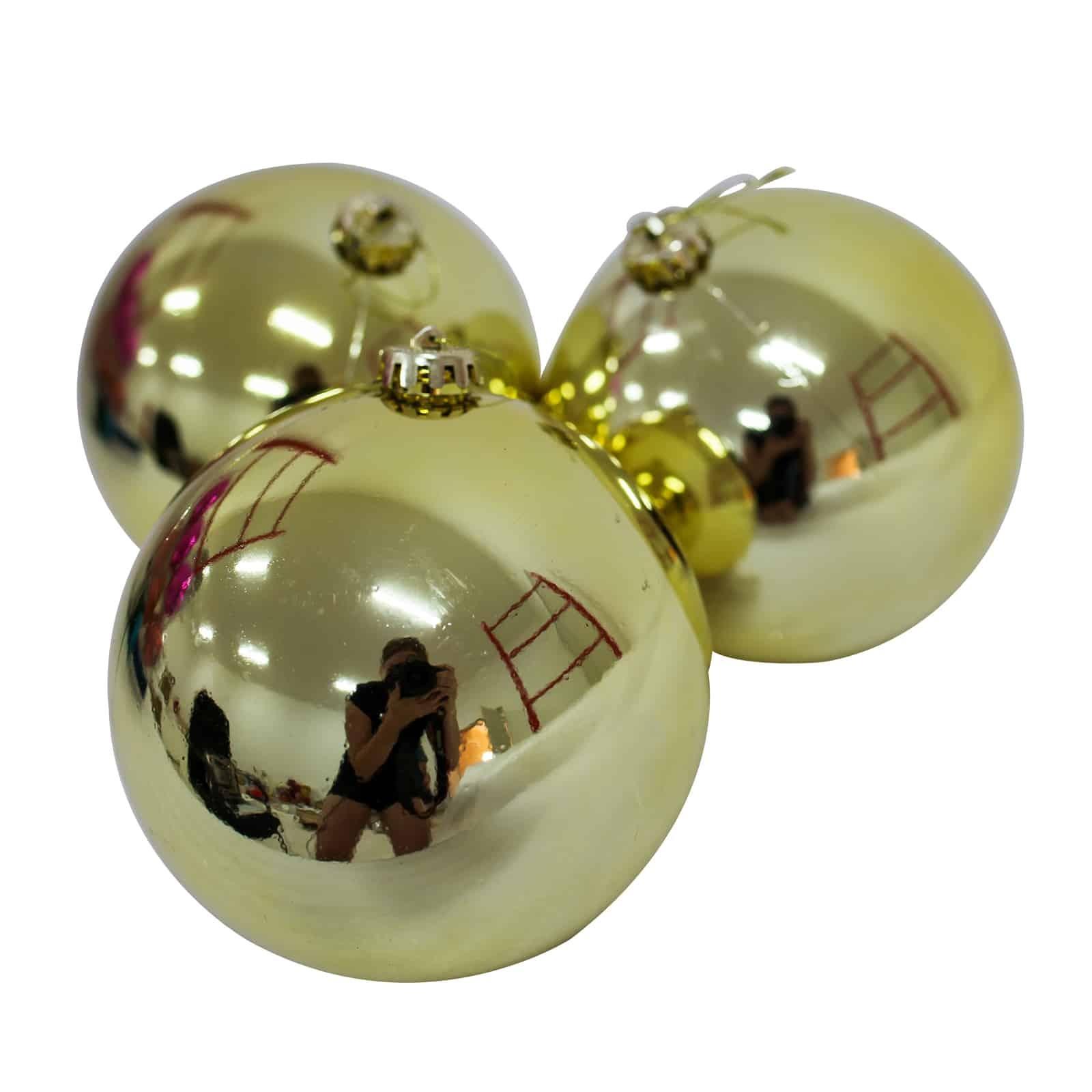 Christmas Baubles.150mm Christmas Baubles Gold 3 Balls Gloss Amazing Christmas