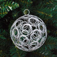 SILVER  Glitter Wire Bauble - 120mm