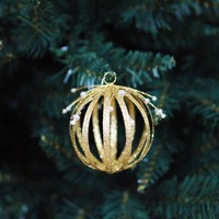 GOLD  Glitter Metal Wire Bauble with Jewels -   80mm