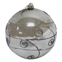 200mm Christmas Decorative Swirl Bauble Silver 1 Ball