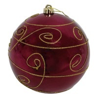400mm Christmas Decorative Edge Bauble RED 1 Ball