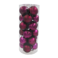 Burgundy Christmas Baubles 80mm Pearl Matt