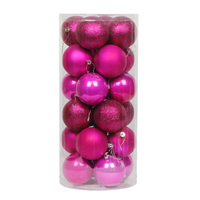 Hot Pink Christmas Baubles 60mm