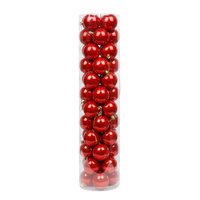 Red Christmas Baubles 60mm Pearl 48 Pack