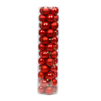 Red Christmas Baubles 70mm Pearl Matt 48 Pack