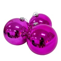 150mm Christmas Baubles HOT PINK 3 Balls Gloss