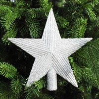 LARGE SILVER TREE TOPPER STAR - 195mm