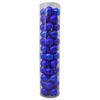 80mm Christmas Baubles Blue 45 Balls Gloss Pearl Matt