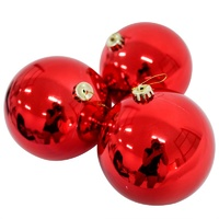 120mm Christmas Baubles RED 3 Balls
