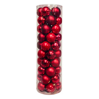 Christmas Baubles 70mm RED 45 Balls