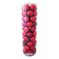 RED  -  DARK RED  70mm Christmas Baubles   Shiny  Pearl  Matt