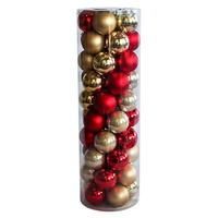 RED & GOLD   60mm  Christmas Baubles    Shiny  Pearl  Matt