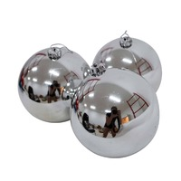 100mm Christmas Baubles SILVER 24 Balls Gloss