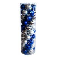 Silver / Blue Christmas Baubles 70mm