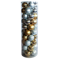 Christmas Baubles 70mm SILVER GOLD 45 Balls