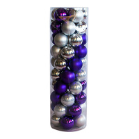 Christmas Baubles 70mm SILVER PURPLE 45 Balls
