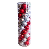 Christmas Baubles 60mm SILVER RED 45 Balls