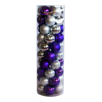 80mm Christmas Baubles Ball Silver & Purple 45 Balls