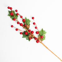 HOLLY LEAF with RED BERRY PICK - 48cm  -  5 pack