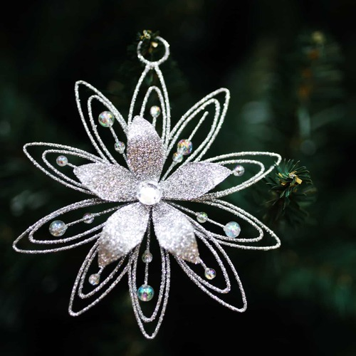 SILVER GLITTER WIRE FLOWER Decoration  -  115mm