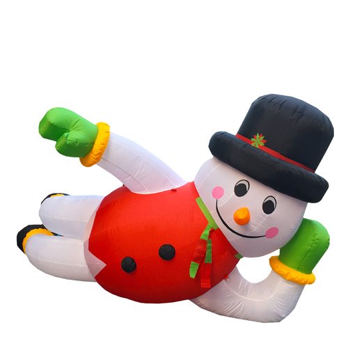 Giant Snowman Reclining Christmas Inflatable - 3.6 x 2.0m