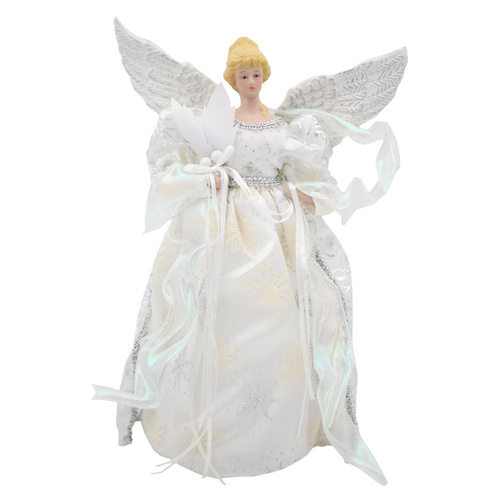 Christmas ANGEL White & Silver decoration 34cm