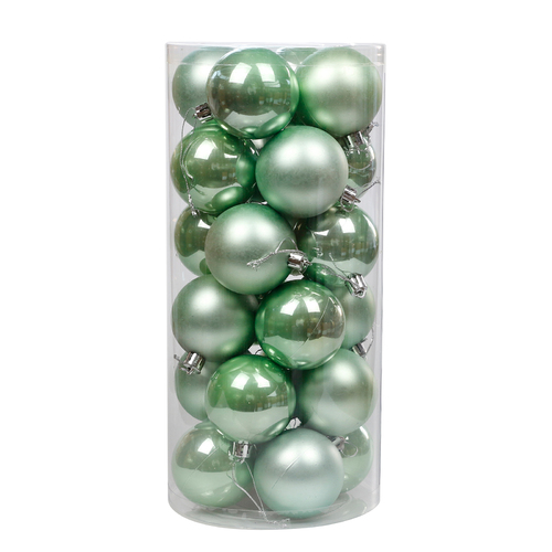 Mint Christmas Baubles 60mm Pearl Matt [Available Christmas Bauble Packs: 24]