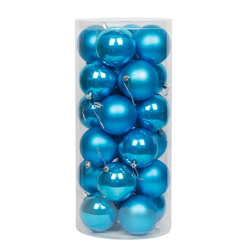 Sky Blue Christmas Baubles 80mm Pearl Matt [Available Christmas Bauble Packs: 24]