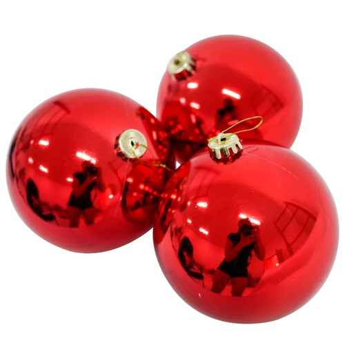 150mm Christmas Baubles RED 3 Balls Gloss