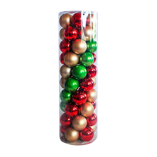 RED GOLD & GREEN   80mm  -  45 Christmas Baubles   Shiny Pearl Matt